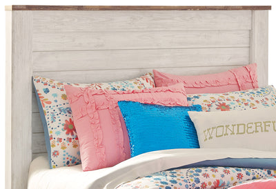 Willowton Full Headboard - Country style Headboard in White Engineered Wood and Laminate Veneers