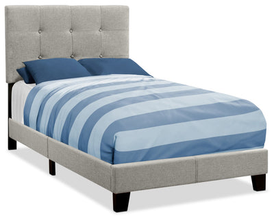 Tara Twin Bed – Grey - Contemporary style Bed in Grey Rubberwood and Polyester Linen