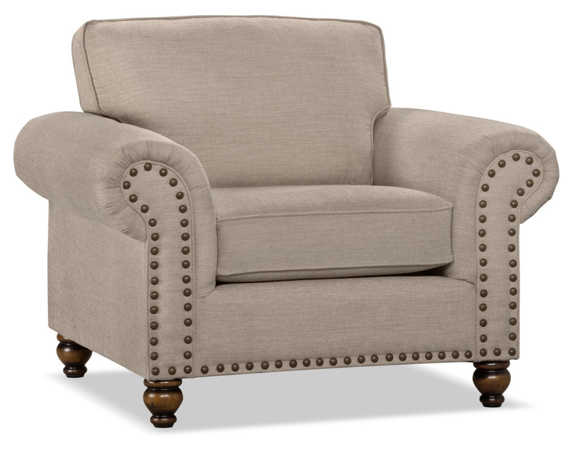 Wynn Chenille Chair – Beige - Traditional style Chair in Beige