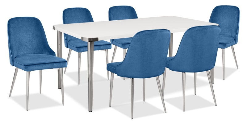 Manhattan 7-Piece Dining Package – Blue|Ensemble de salle à manger Manhattan 7 pièces - bleu