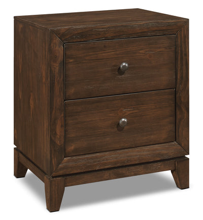 Tacoma Nightstand - Rustic style Nightstand in Dark Brown Pine Solids and Veneers