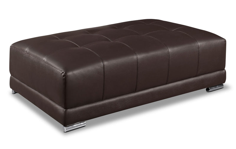 Rylee Genuine Leather Ottoman - Brown|Pouf Rylee en cuir véritable - brun