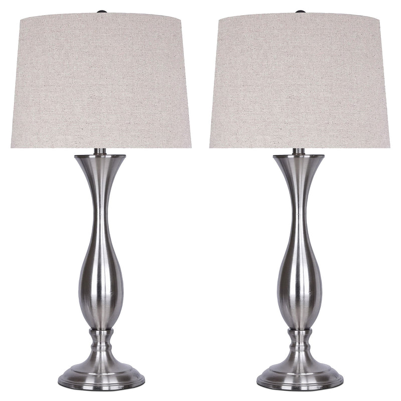 Brushed Nickel 2-Piece Table Lamp Set|Ensemble 2 lampes de table en nickel brossé
