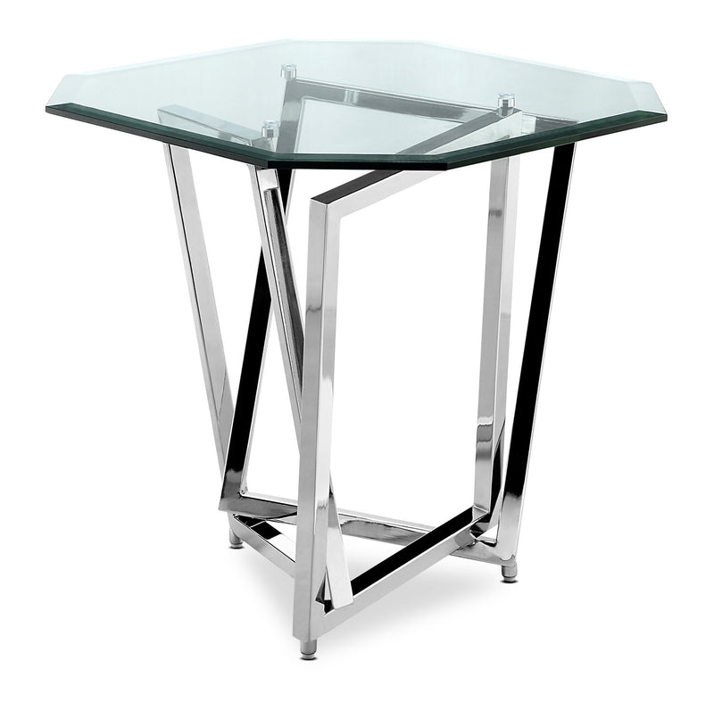 Konstanz End Table - Modern style End Table in Chrome Metal and Glass