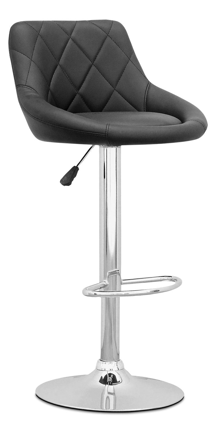 Adjustable Diamond-Back Barstool – Black Leatherette|Tabouret réglable avec dossier à motif diamant - similicuir noir