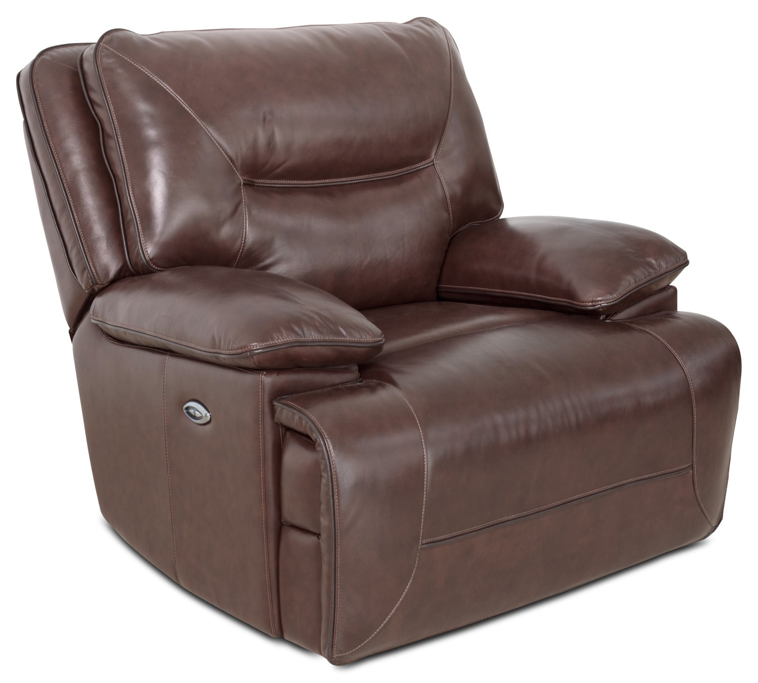 Beau Genuine Leather Power Reclining Chair U2013 BurgundyFauteuil à Inclinaison  électrique Beau En Cuir Véritable   Bourgogne