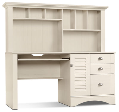Harbor View Desk with Hutch – Antiqued White - Country style Desk in White Wood