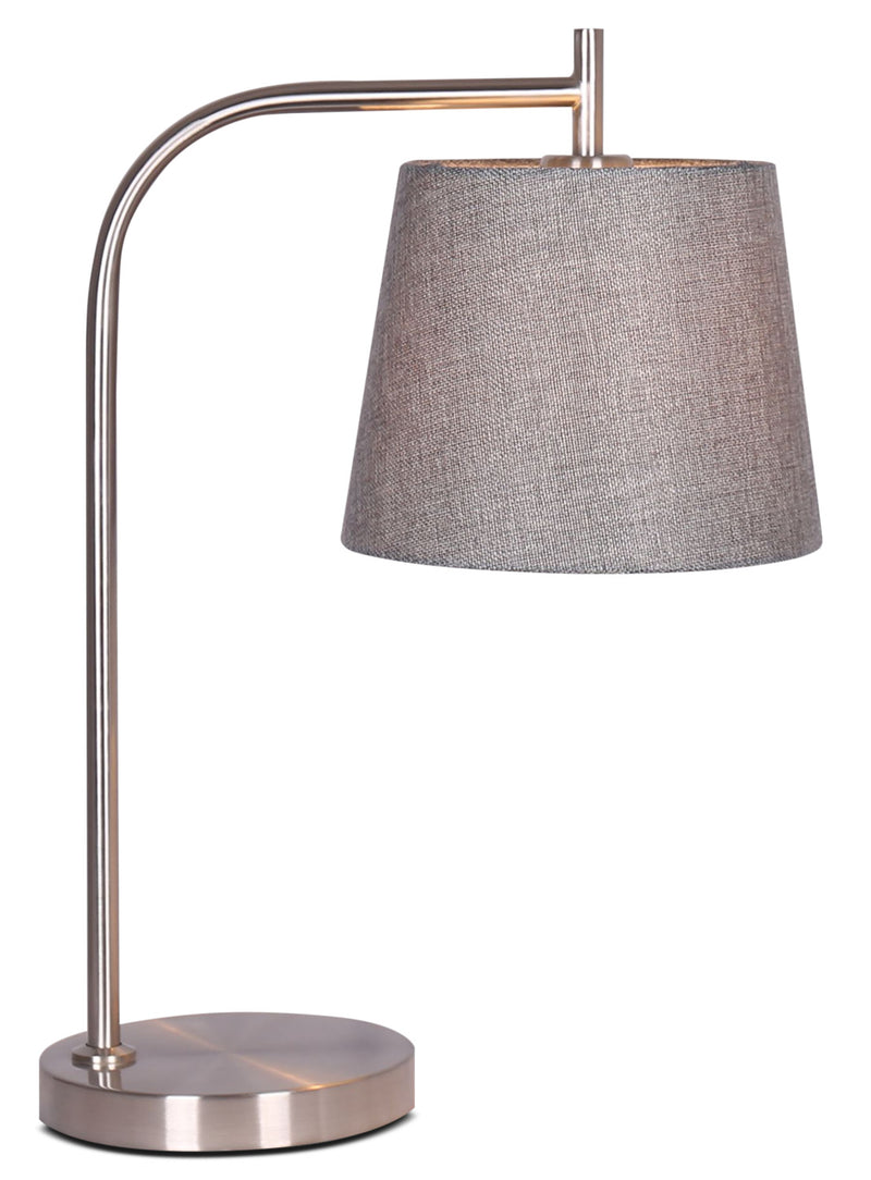 Kaitlyn Brushed Steel Table Lamp|Lampe de table Kaitlyn en acier brossé