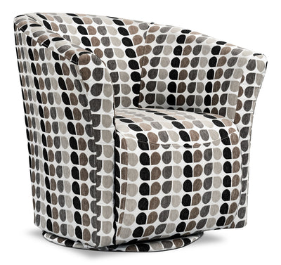 Tub-Style Fabric Swivel Accent Chair - Steel - Modern style Accent Chair in Patterned