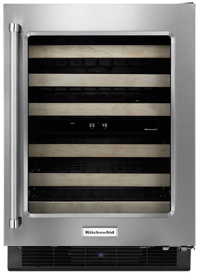 "KitchenAid 24"" Right-Swing Wine Cellar with Wood Racks - KUWR204ESB