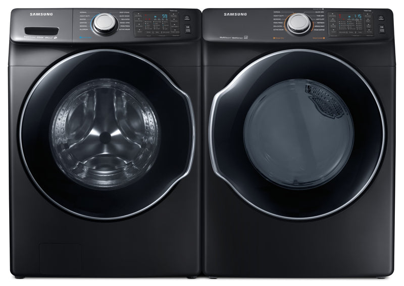 Samsung 5.2 Cu. Ft. Front-Load Washer and 7.4 Cu. Ft. Dryer - Slate|Laveuse à haute efficacité Samsung de 5,2 pi³ à chargement par le haut et sécheuse de 7,4 pi³ - ardo