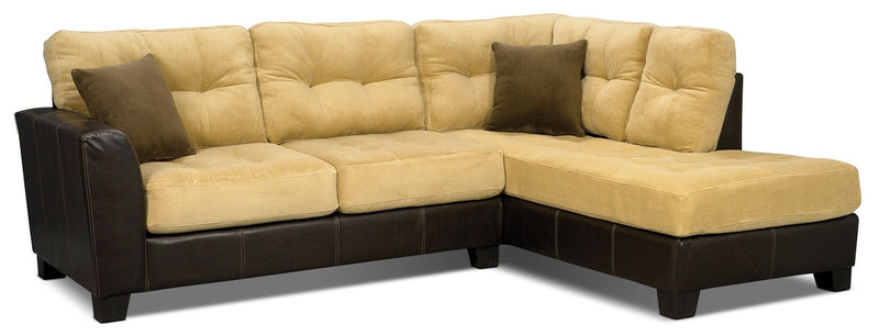 Bella 2-Piece Microsuede Sectional - Two-Tone Brown|Sofa sectionnel Bella 2 pièces en microsuède - deux tons de brun