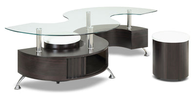 Seradala Coffee Table with Two Ottomans - Modern style Coffee Table in Cappuccino Wood/Glass/Metal
