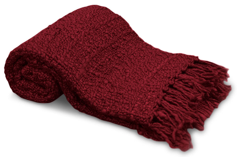 Knit Throw with Fringe – Red|Jeté tricoté à franges - rouge
