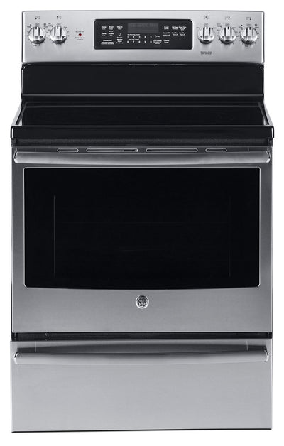 GE 5.0 Cu. Ft. Freestanding Electric Range with Warming Drawer – JCB860SKSS|Cuisinière électrique amovible GE de 5,0 pi3 avec tiroir-réchaud – JCB860SKSS|JCB860KS