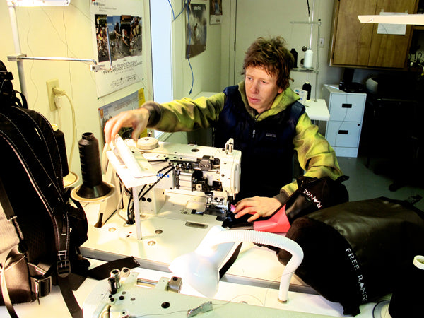 Tosch Roy sewing a Free Range Equipment Backpack