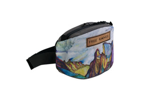 "Free Range Equipment Canvas Phanny Pack featuring ""Crazy Mountains"" print by Rachel Pohl. An artist collaboration fanny pack made-to-order in Bend, OR."