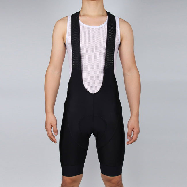 MEN Black Cycling Bib Shorts, with GLOSSY LOGO