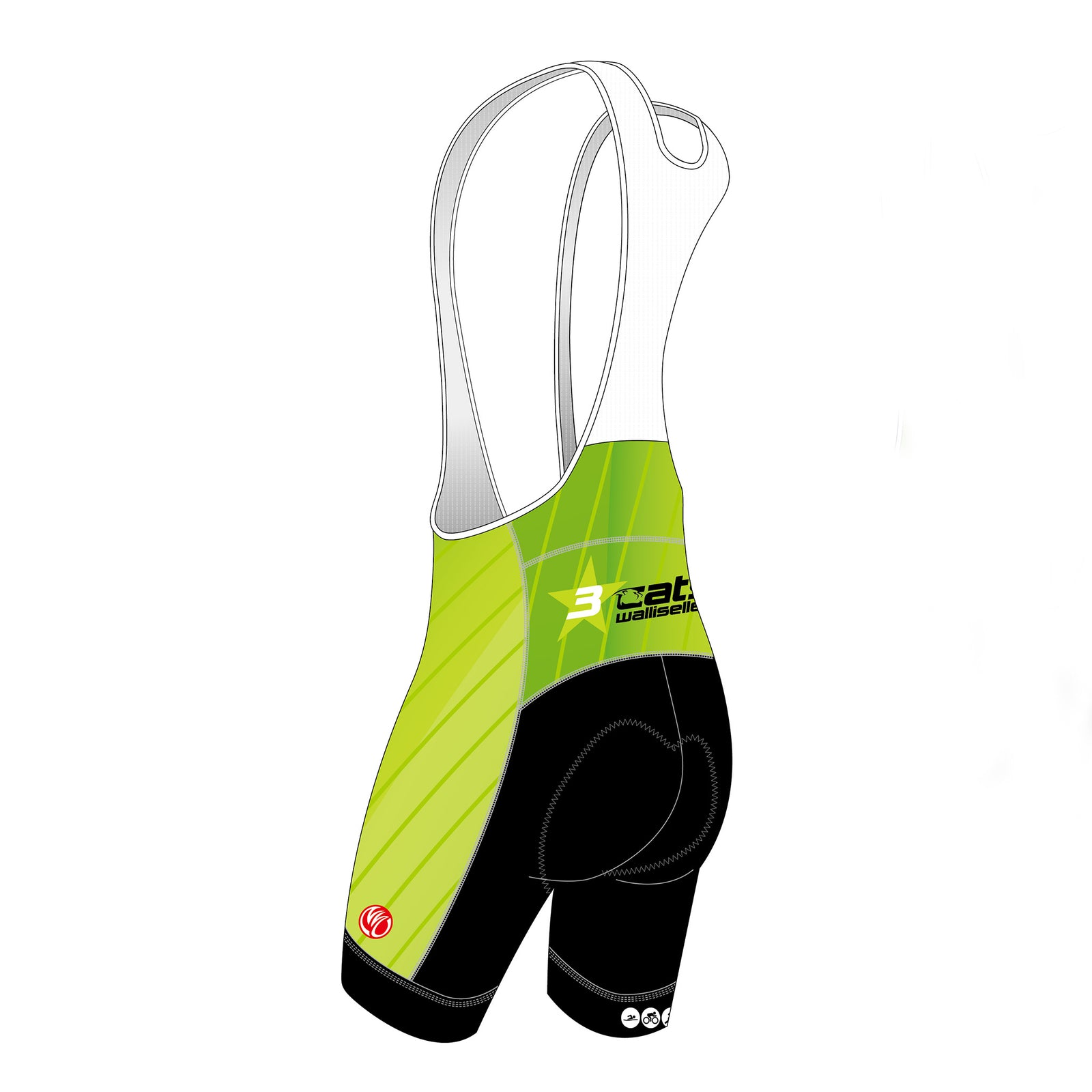 3star cats GOLD Cycling Bib Shorts