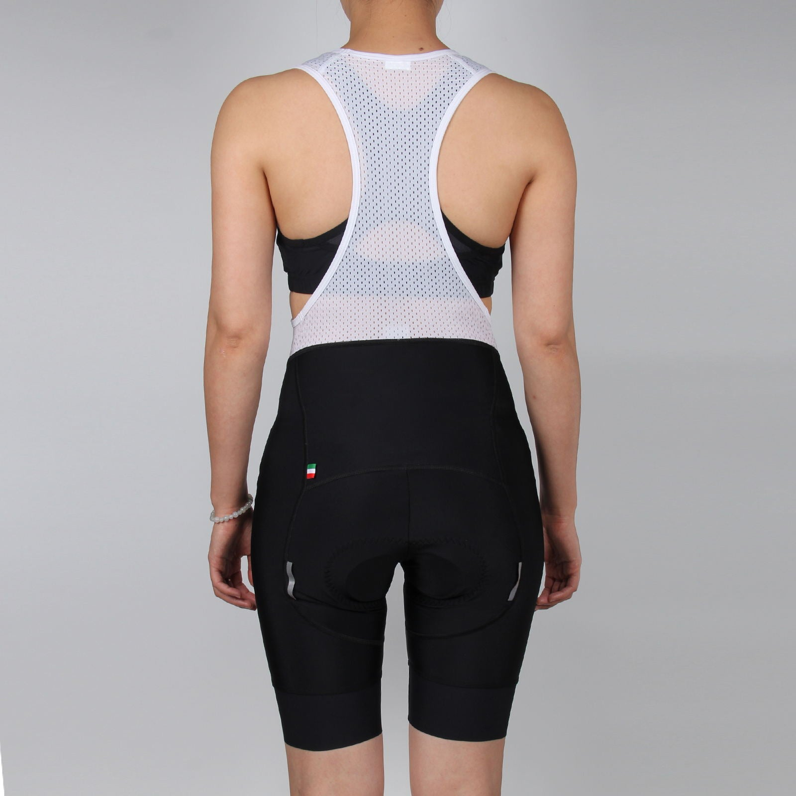 WOMEN Black Cycling Bib Shorts, with GLOSSY LOGO
