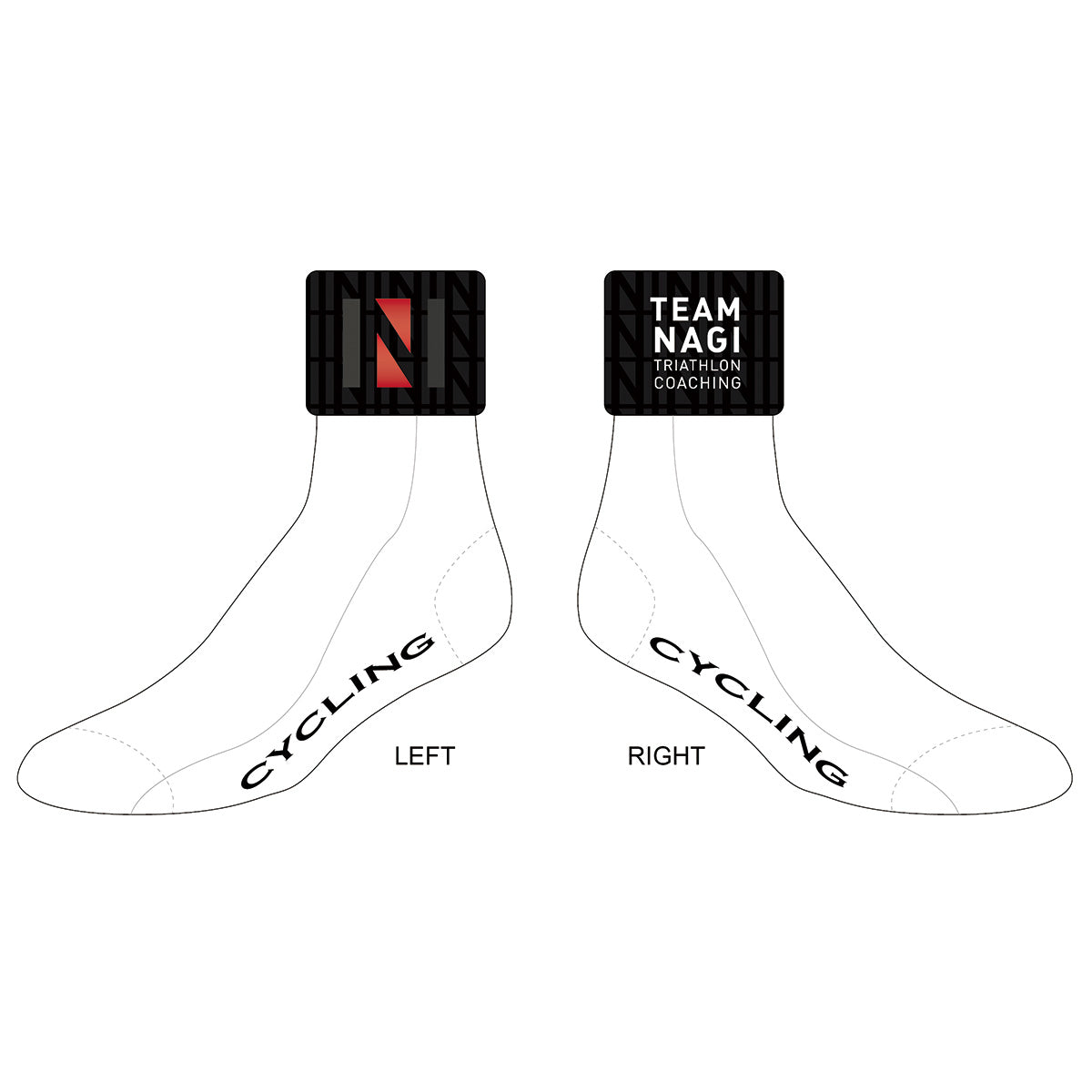 Team Nagi BLACK Cycling Socks, FREE SIZE