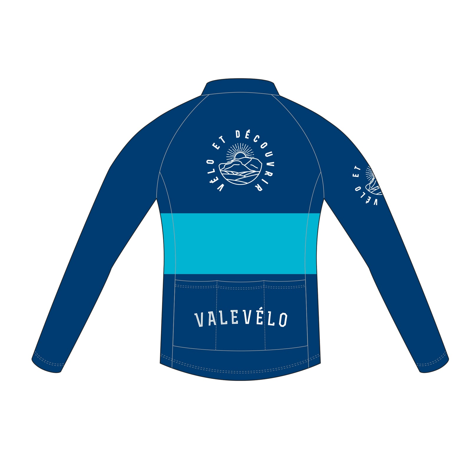 VALEVELO Men's Race Cut PLATINUM Thermal Long Sleeve Cycling Jersey, BLUE