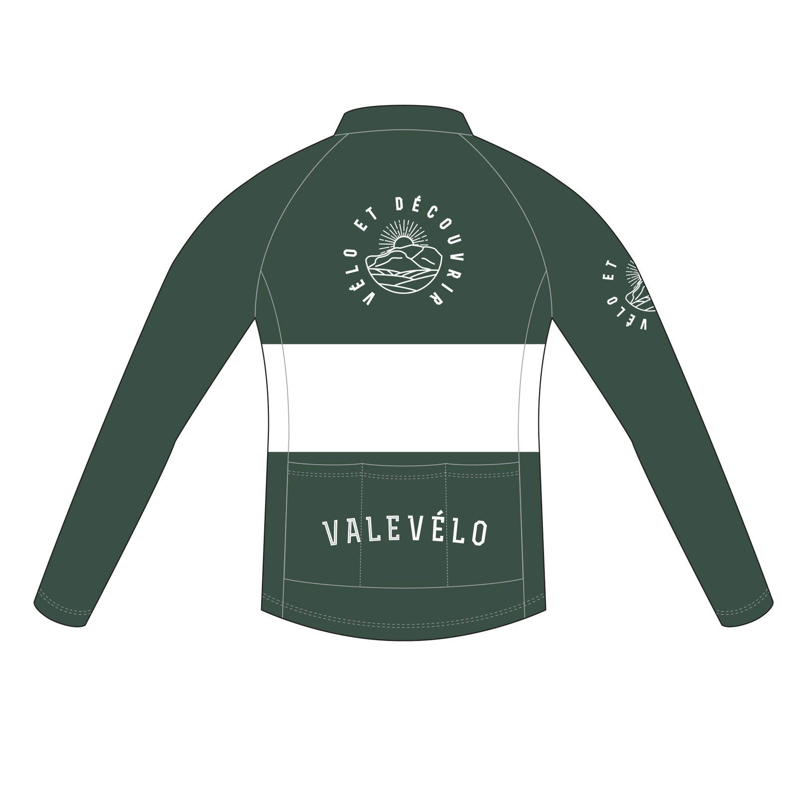 VALEVELO Men's Race Cut PLATINUM Thermal Long Sleeve Cycling Jersey, DARK GREEN