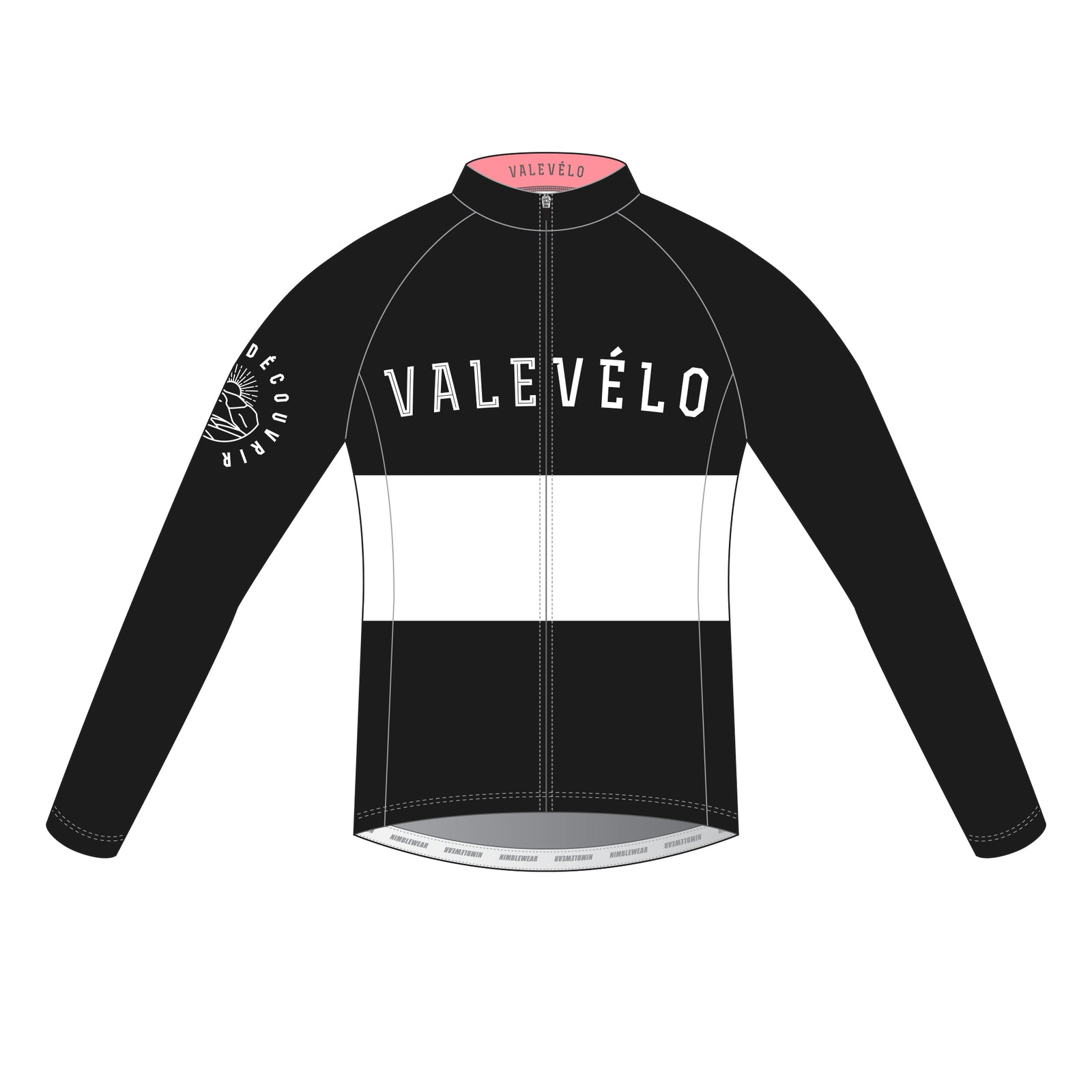 VALEVELO Men's Race Cut PLATINUM Thermal Long Sleeve Cycling Jersey, BLACK
