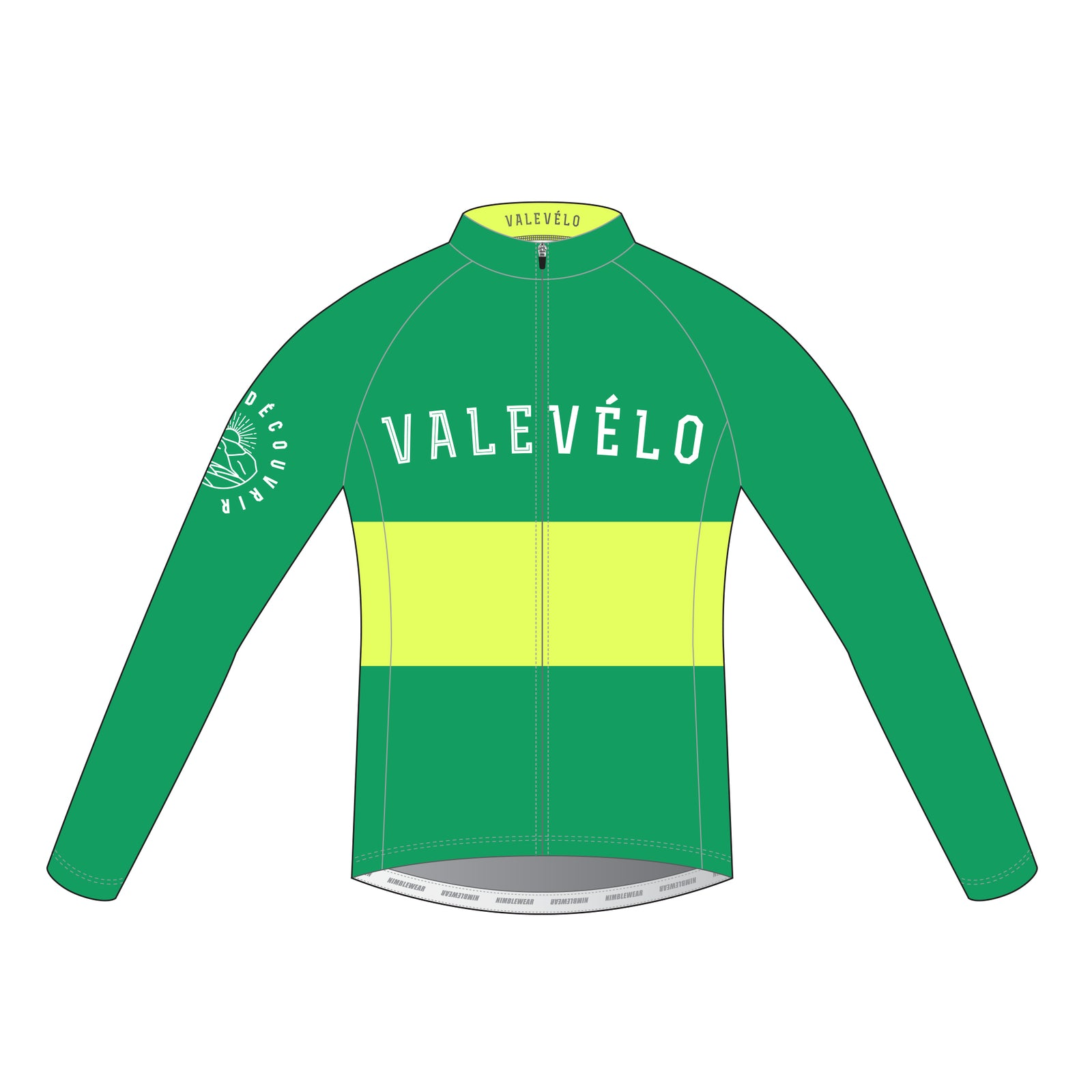 VALEVELO Men's Race Cut PLATINUM Thermal Long Sleeve Cycling Jersey, LIGHT GREEN