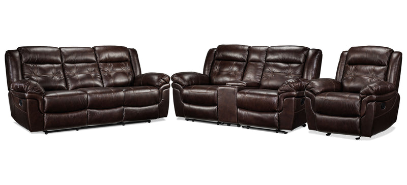 Leighland Reclining Sofa, Reclining Loveseat with Console and Recliner Set - Brown