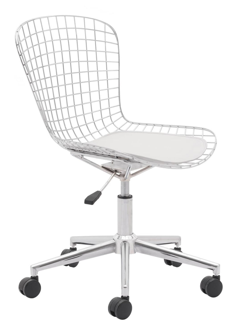 Sheridan Office Chair - Chrome w/ White Cushion