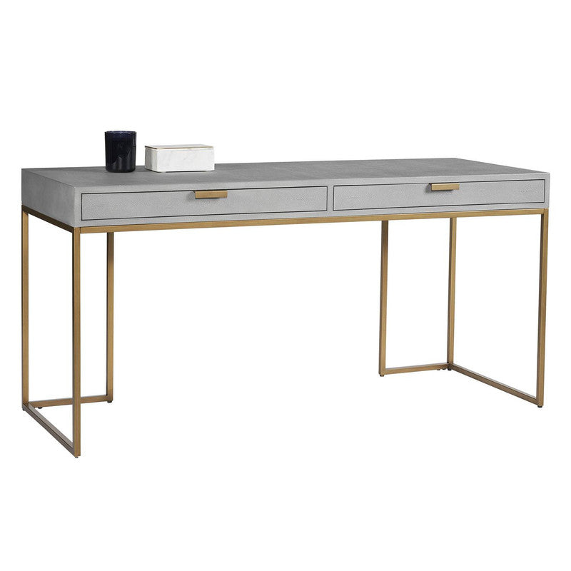 Treviri Leather Desk - Faux Brass