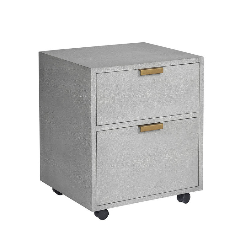 Treviri Leather File Cabinet - Faux Brass