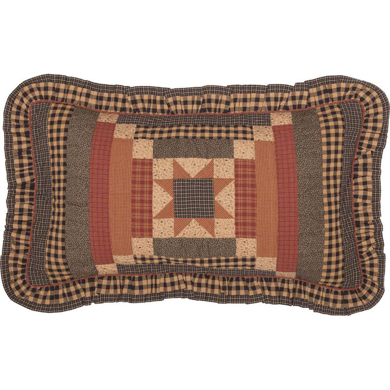 Wooddruff King Sham - Natural/Burgundy