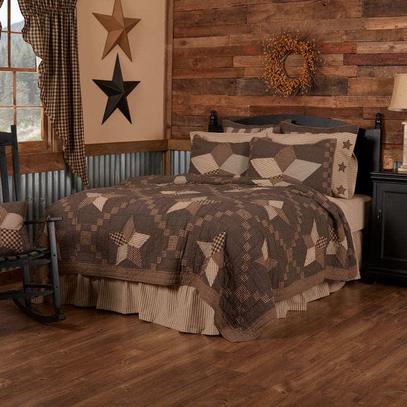 Millard Queen Quilt - Charcoal/Dark Tan