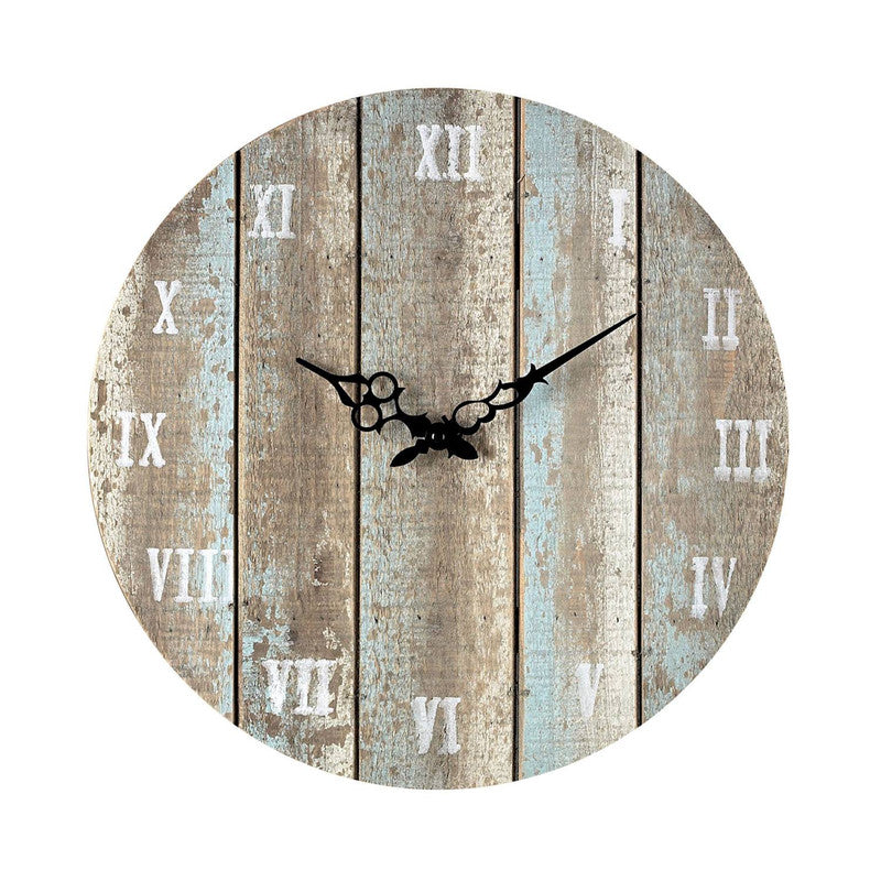 Aged Wood Outdoor Clock - Light Blue