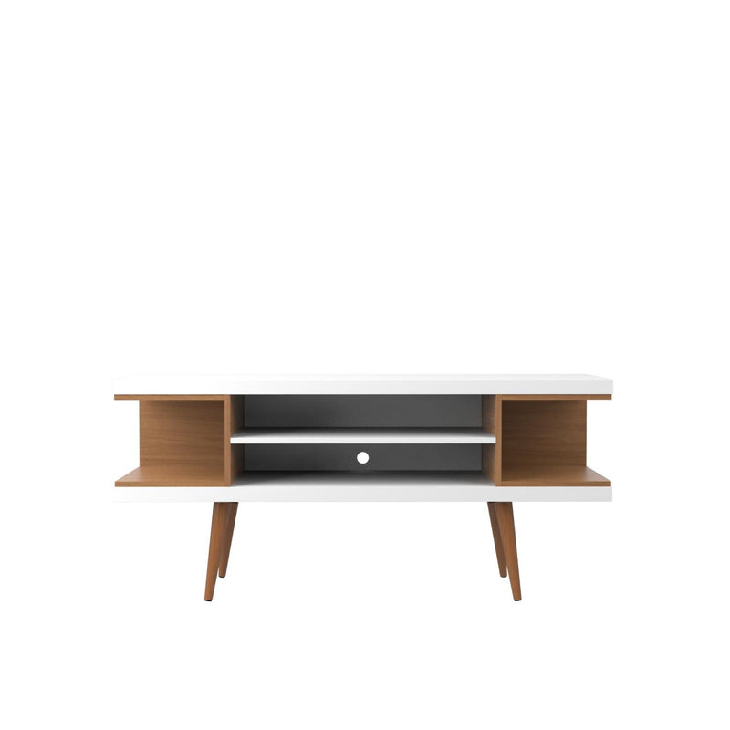"Aketi 53"" TV Stand - White Gloss/Maple Cream"
