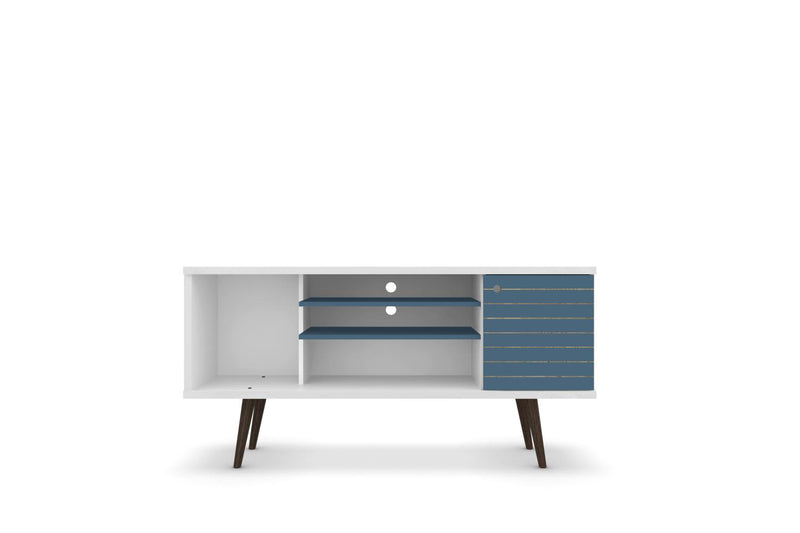 "Lekedi 53"" TV Stand - White/Aqua Blue"