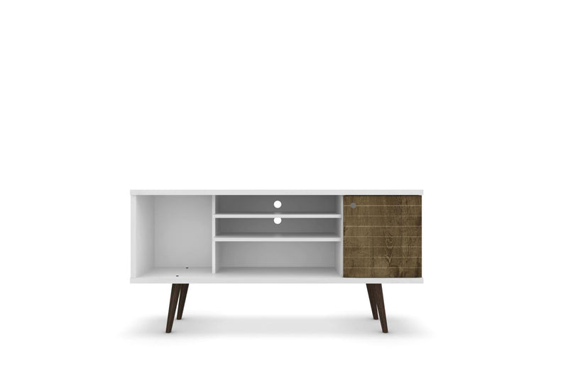 "Lekedi 53"" TV Stand - White/Rustic Brown"