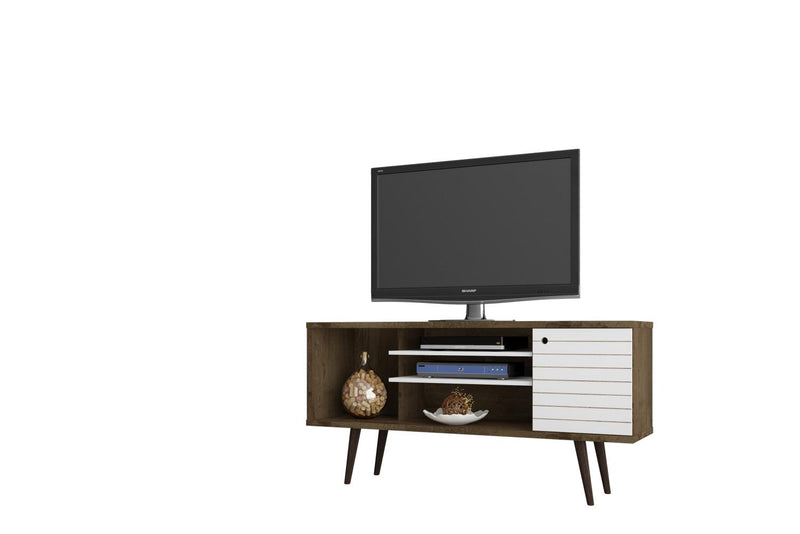 "Lekedi 53"" TV Stand - Matte White/Rustic Brown"