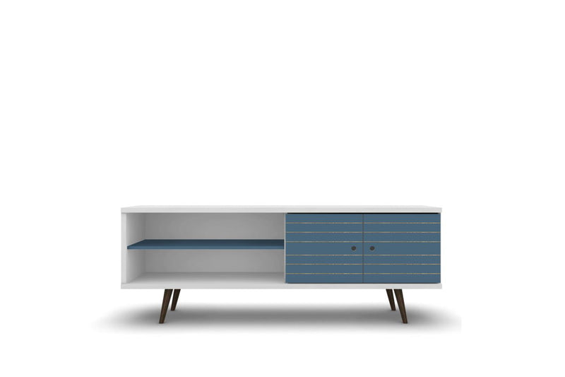 "Lekedi 63"" TV Stand - White/Aqua Blue"