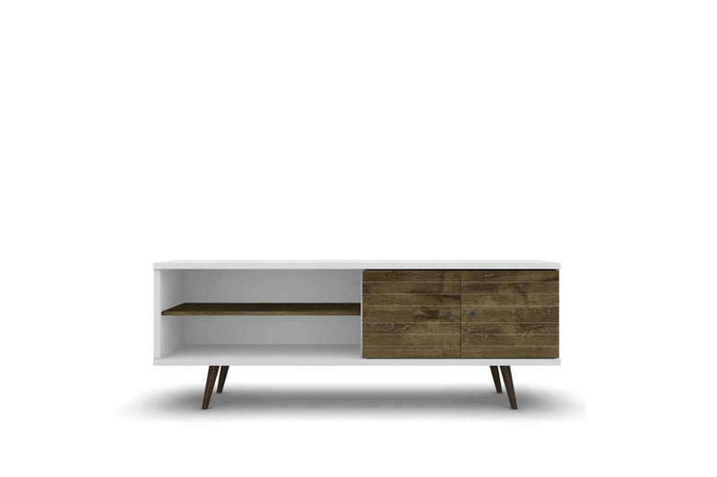 "Lekedi 63"" TV Stand - White/Rustic Brown"