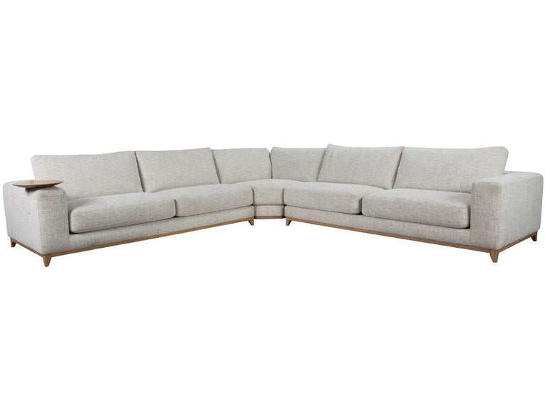 Brackley 7 Seater Sectional with Round Side Table - Sand