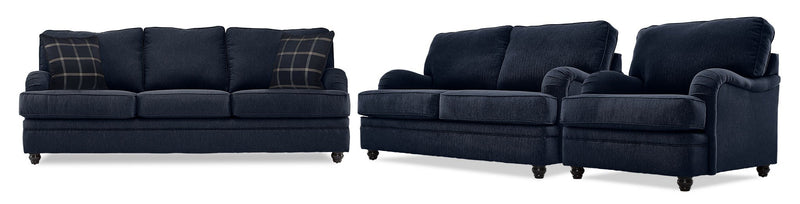 Cayuga Sofa, Loveseat and Chair Set - Indigo
