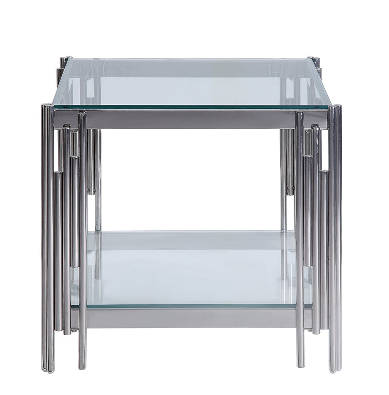 Britney End Table - Glass and Stainless Steel