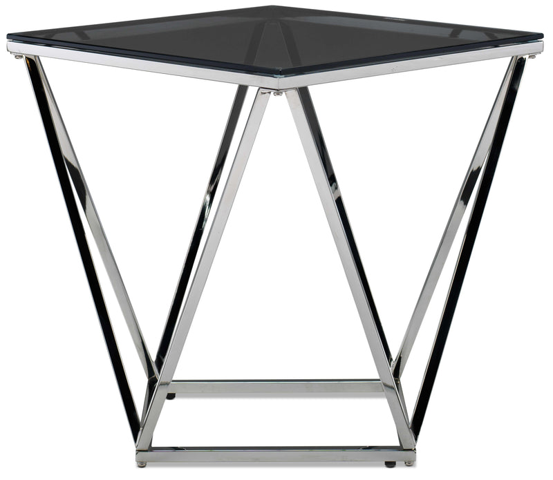 Kieran End Table - Silver and Black