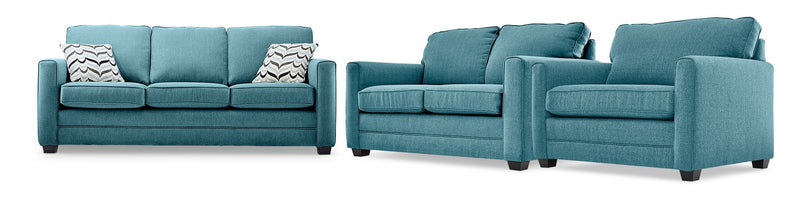 Belton Sofa, Loveseat and Chair and a Half Set - Teal