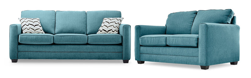 Belton Sofa and Loveseat Set - Teal
