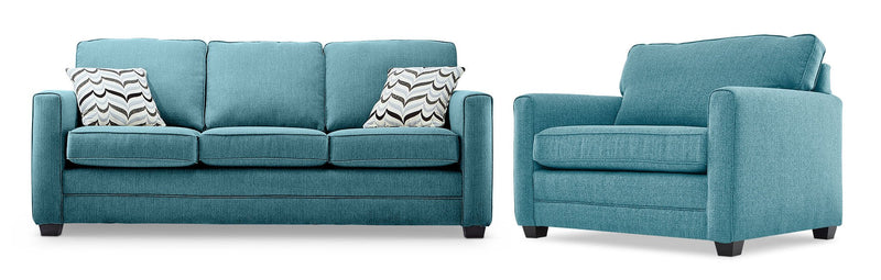 Belton Sofa and Chair and a Half Set - Teal
