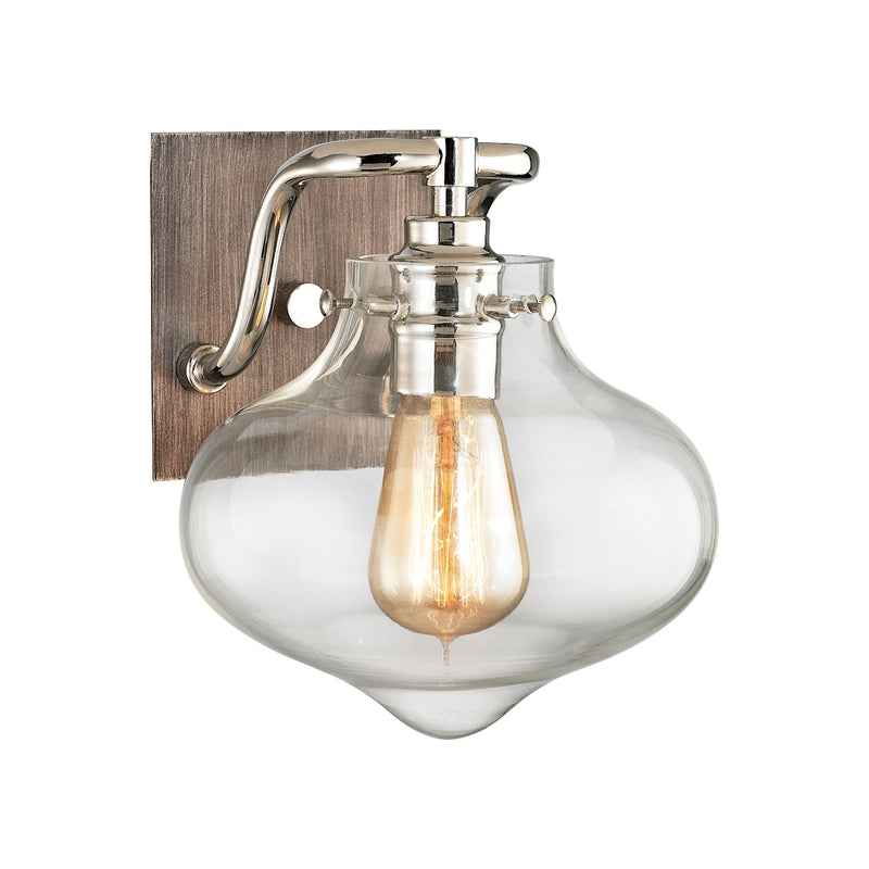 Warora 1 Light Vanity Light - Polished Nickel/Weathered Zinc